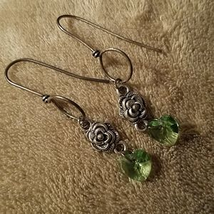 Peridot heart earrings ~sterling wires